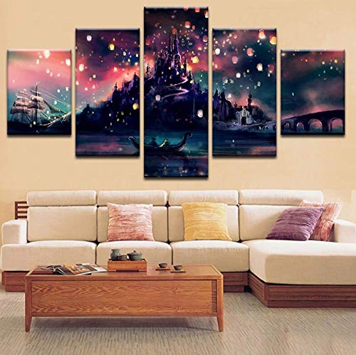 5 Pcs Framed Harry Potter Hogwarts for Home Office Decor Wall Pictures for Living Room/Office Room (5 Piece, Large: 30x50cm x2pcs+30x70cm x2pcs+30x80cm x1pc)