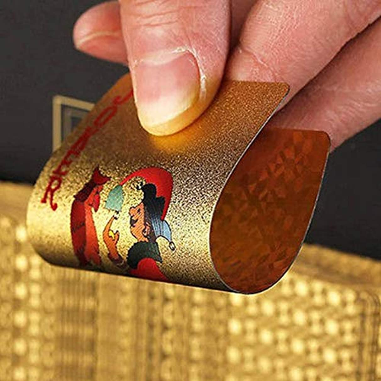 Party DIY Decorations - Christmas Table Games Certified Pure 24k Carat Novelty Gold Foil Plated Poker Playing Cards W 52 2 - Protection Notebook Size Gold Reader Cardboard Storage Wallet