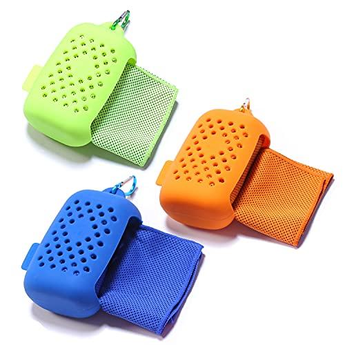 EasyULT kühlendes Handtuch[3 Stück], Kühltuch Kühlhandtuch, Mikrofaser Handtücher Schnelltrocknend Sporthandtuch Strandhandtuch Reisehandtuch für Fitness Gym Yoga and Outdoor Sports(Orange Blau Grün)
