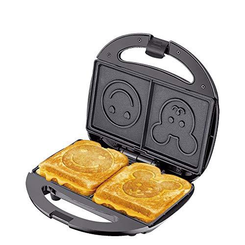 Moldes del fabricante de la parrilla del sándwich, tostadora para hornear de buñuelo, caja acero inoxidable, recubrimiento antiadherente, luz LED, base antideslizante, forma cara smiley, para cocina
