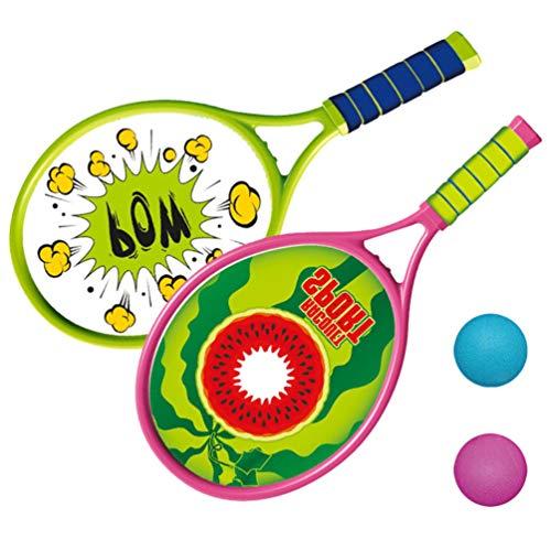 TOYANDONA 1 conjunto de raquete de tênis, brinquedo divertido para atividades ao ar livre, brinquedo de plástico, raquete de tênis, suprimentos práticos, estilo desenho animado raquete para crianças e meninos