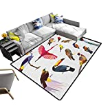 GLF Shag Throw Rug Birds, Soft Kids Room Rug Colored Collection Bird Set with Poly Design Triangle in Mosaic Style Illustration for Hardwood Floors Multicolor, 153x214 cm