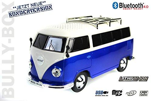 Nostalgie Bully-Box in Blau  CAR Multimedia Spaeker   Bluetooth  Radio   MP3   USB   MicroSD  SUPER Sound  Lithium-Ionen Akku 20x7x6cm