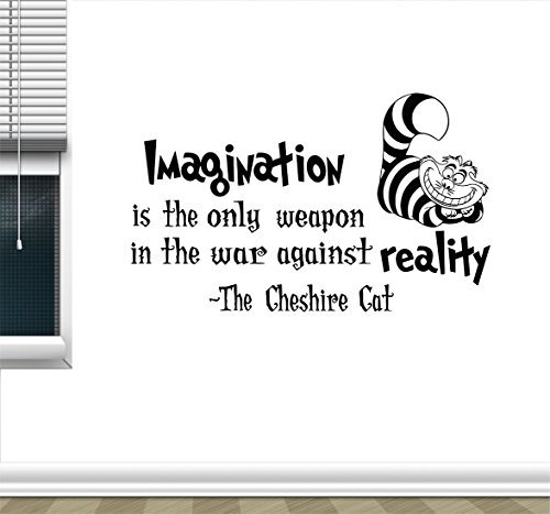The Decal Hub Alice in Wonderland Wall Sticker Cheshire Cat Quotes Vinyl Decals Room Wall Art Decoration Home Decor (14' x 23')