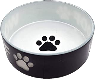 Naaz Pet Supplies Glass Anti Skid Pet Bowl for Dog | Cat | Pup | Kitten - Black