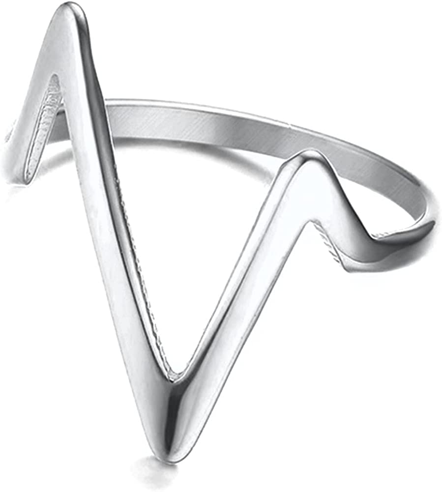 Jude Jewelers Stainless Steel New arrival Regular store Chevron Ring Promise Ann Statement