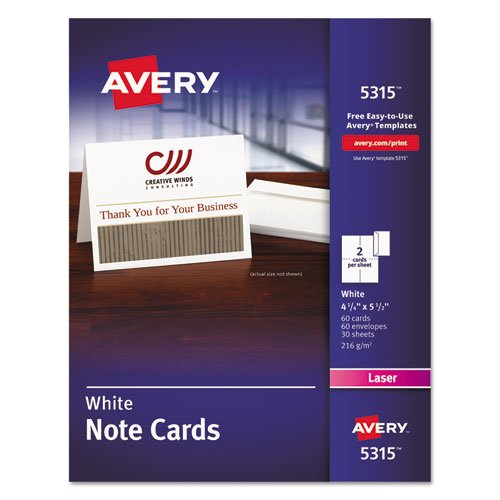 Note Cards, Laser Printer, 4 1/4 x 5 1/2, Uncoated White, 60/Pack with...