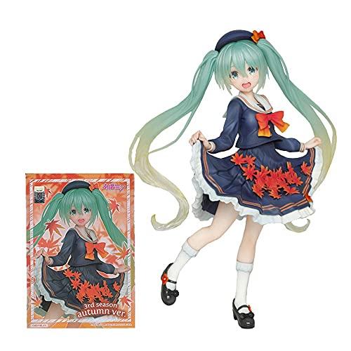 Otoño de Arte Ropa de otoño Four Seasons Hatsune Miku Futuro Cantante Virtual JK Uniforme PVC Arcilla ANIME Estado estático Estado de 18 cm Figurina para la colección Adornos de la estatua Niños Jugue