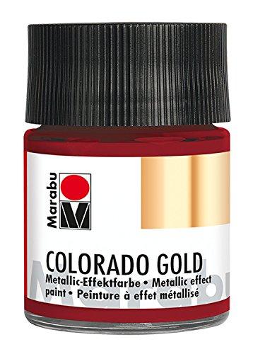 Marabu 12640005732 - Metallic Effektfarbe, Colorado Gold metallic rot 50 ml, auf Wasserbasis, lichtecht, wetterfest, schnell trocknend, zum Pinseln und Tupfen auf saugenden Untergründen