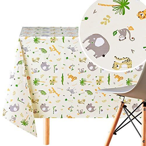 KP HOME Mantel de PVC reutilizable con diseño de animales de safari para niños, diseño de animales de safari