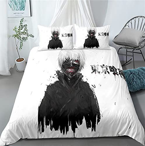 ysldtty 3D Bedding Set Anime Tokyo Ghoul 3D Printed Duvet Covers Pillowcases Bedclothes H2966U 135CM x 200CM With 2 pice pillowcase 50CM x 75CM