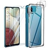 ivencase Funda Compatible con Samsung Galaxy A12 con 2 Pack Protector de Pantalla y 2 Pack cámara Protector de Pantalla