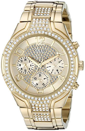 GUESS  Gold-Tone Stainless Steel Crystal Embellished Bracelet Watch with Day, Date + 24 Hour Military/Int'l Time. Color: Gold-Tone (Model: U0628L2)