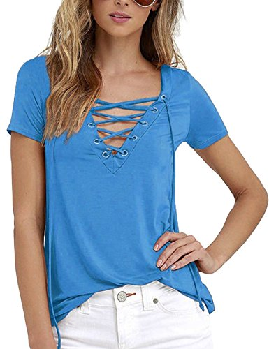 Imagine Women's Summer Sexy Black V Neck Lace Up Short Sleeve Solid Tshirt Tee Tops(Plus Size)(LB,XL)