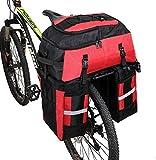 Kayboo 70L Sacoche Vélo Sac Porte Bagage Arrière à Trois Compartiments de Cyclisme Nylon Poche Assemblage avec Couverture Imperméable VTT Outdoor Voyage Sport (Rouge)