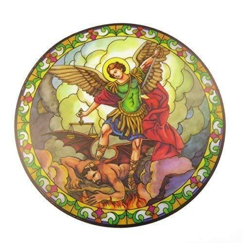 Sint Michael suncatcher glas in lood raamsticker herbruikbaar 6 inch zonnevanger