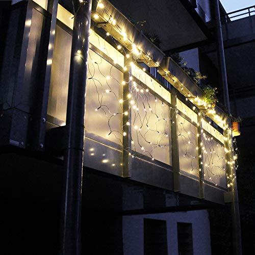 Balkongeländer-Lichtervorhang 240 LEDs 210x100x100cm Lichternetz Warmweiß Balkonbeleuchtung Geländer-Lichterkette Dekoration Weihnachten