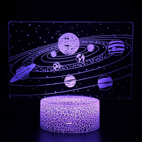YanFeng Lámpara de universo 3D, lámpara de espacio 3D de luz acrílica con control remoto, espacio de universo LED de 16 colores cambiantes para regalo, decoración de dormitorio