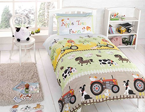 Rapport - Parure de lit pour Enfants - avec Dessins de Ferme et Inscription «Apple Tree Farm»