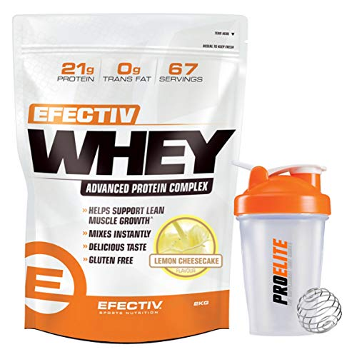 Efectiv Whey Protein 2kg Effective Powder Shake Lean Muscle Diet 100% Gluten Free + Shaker Bottle (Lemon Cheesecake)