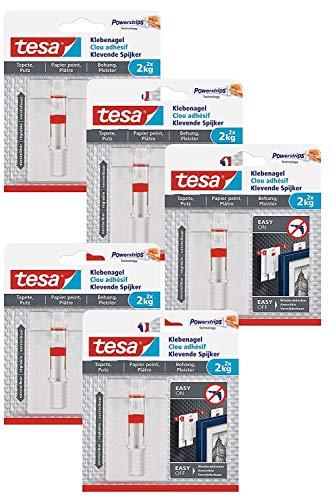 tesa Verstellbarer Klebenagel (für Tapeten und Putz 2 kg, Höhenverstellbarer, selbstklebender Wandnagel, bis zu 2 kg Halteleistung pro Nagel) 2er Pack (5 Packungen / 2 kg)