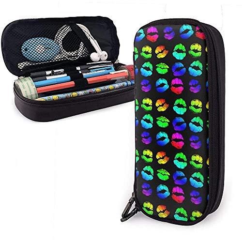 Schlampermäppchen,Schulmäppchen für Schreibwaren Federtasche Federmappe Lippenstift Regenbogen