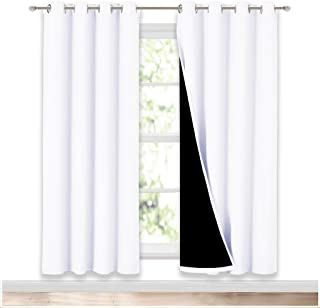NICETOWN 100% Blackout Window Curtain Panels, Home Fashion Full Light Blocking Drapes with Black Liner for Nursery, 72 Inc...