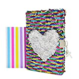 VIPbuy Magic Reversible Sequin Notebook Diary Lined Travel Journal with Lock and Key for Kids Girls, Size A5...