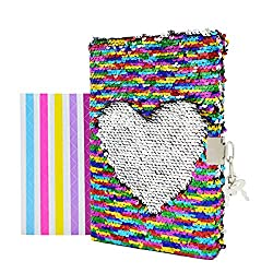 "VIPbuy Magic Reversible Sequin Notebook Diary Lined Travel Journal with Lock and Key for Kids Girls, Size A5 (8.5"" x 5.5""), 78 Sheets, Rainbow to Silver"