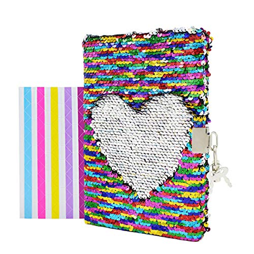 VIPbuy Magic Reversible Sequin Notebook Diary Lined Travel Journal with Lock and Key for Kids Girls, Size A5 (8.5  x 5.5 ), 78 Sheets, Rainbow to Silver