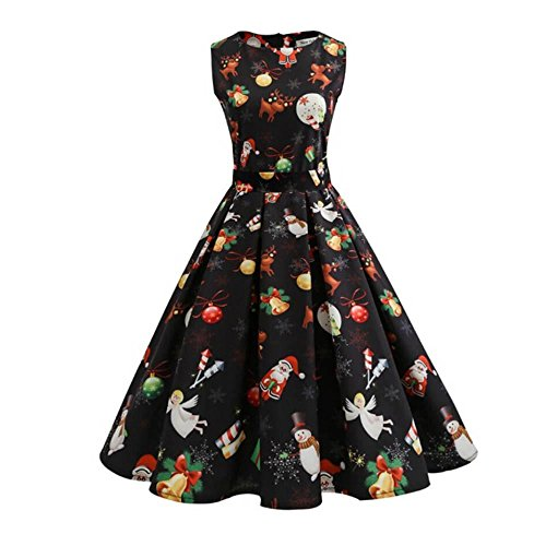 Rosennie Damen Vintage Kleider Cocktailkleider Minikleid Party Abend Kleid Ärmellos Rundhals Weihnachtskleid Drucken Partykleid Prom Swing Kleid Elegant