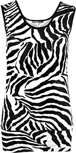 WearAll - Damen Zebra Schwarz Weiß Tier Druck-ärmellos Weste Top - Schwarz Weiß - 36-38
