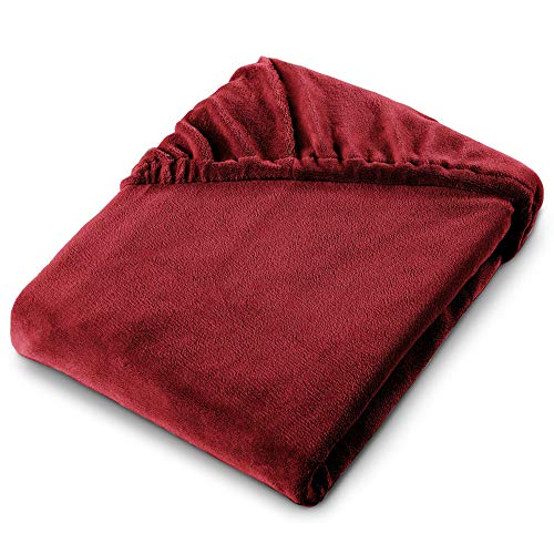 aqua-textil Feelwell Sábanas Ajustables Revestimiento para Cama Boxspring vellón Microfibra 180x200 cm Burdeos
