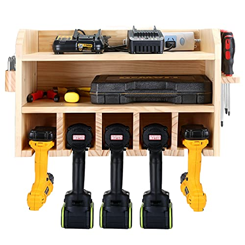 Drill Charging Station, Garage Power Tool Organizer Wall Mount Cordless Power Drill Holder Garage Drill Storage With Screwdriver Rack and Drill Bit Holder