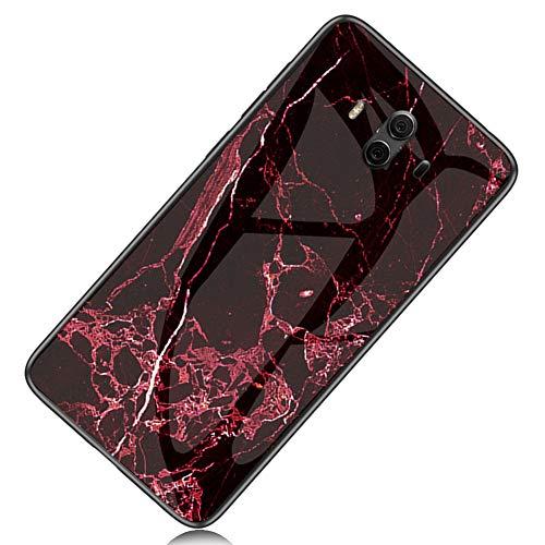 Yoodi Capa para Huawei Mate 10, capa traseira de vidro temperado com design de mármore premium híbrida antiarranhões e borda flexível para Huawei Mate 10 - vermelho-sangue