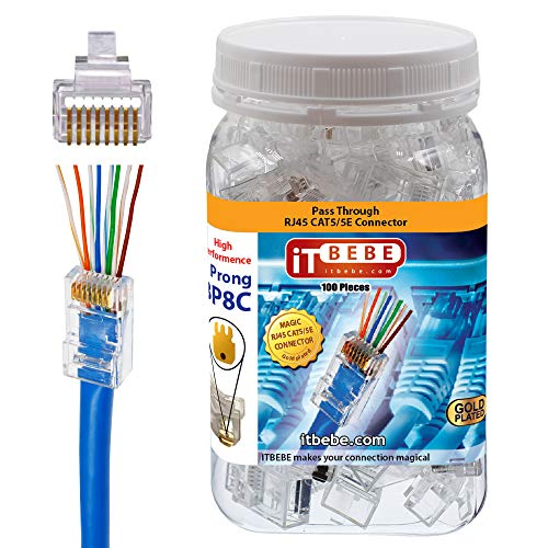 ITBEBE Gold Plated 100 Pieces End Pass Through RJ45 Cat5 Cat5e Connector by itbebe (Cat5/5e 100 Pieces)