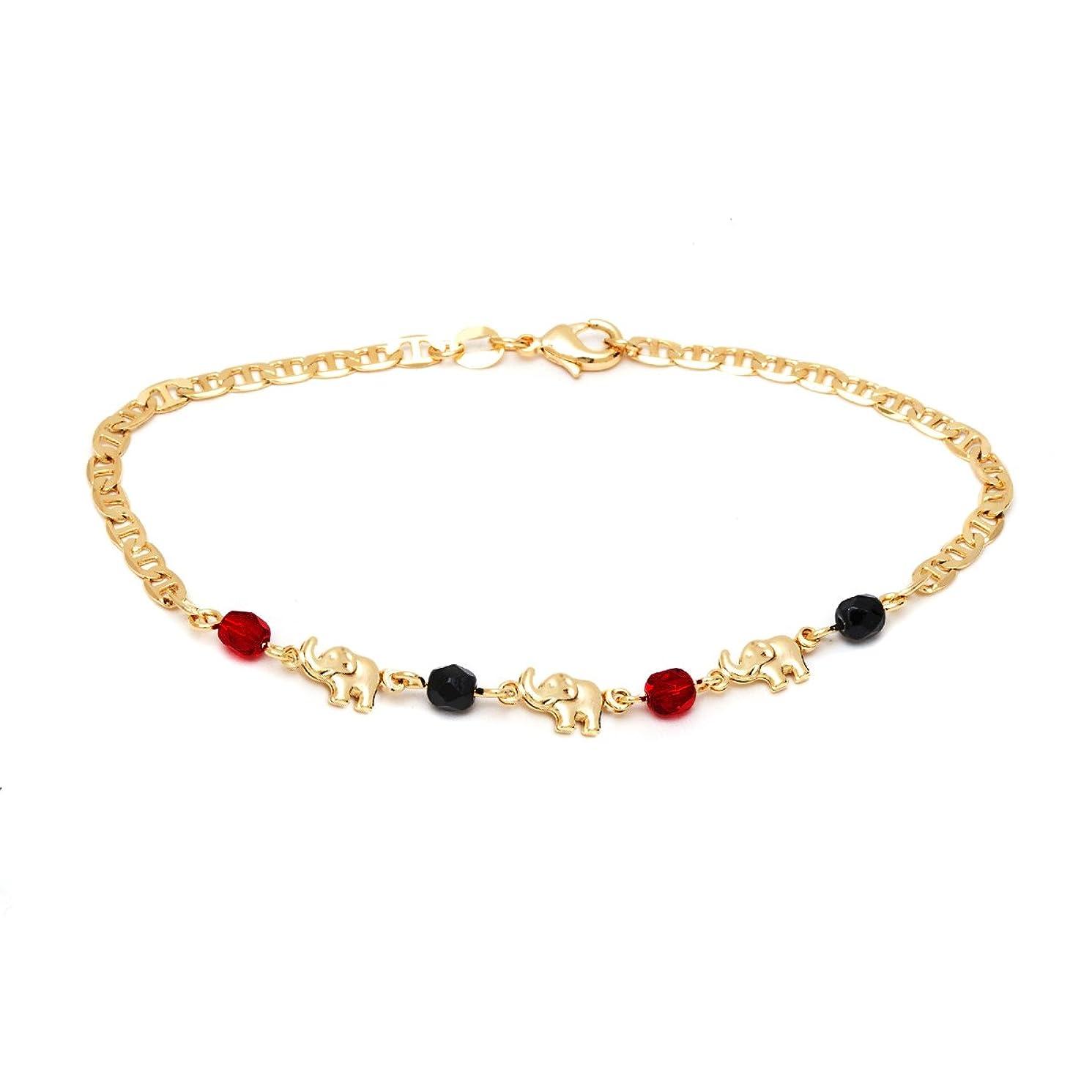 Barzel 18K Gold Plated Mariner Link Red & Black Elephant Anklet