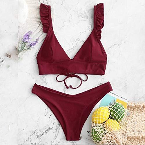 XINTIAN Bikini sexy de cintura alta con cuello en V de dos piezas en forma de V para mujer, traje de baño de playa con aros en V (color: vino, talla: XL)
