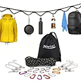 Roptat Campsite Storage Strap with 12 PCS Buckles&6 Clothes Pins Clothesline for Tent Campers Car Camping Garden Supplies RV Trailer Hanging Gear for Camp Kitchen Equipment Accessories