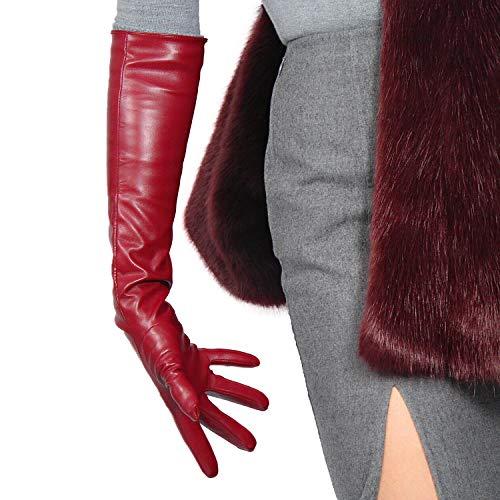 DooWay LONG LATEX GLOVES Faux Leather Sheepskin PU Dark Red Burgendy Evening Dress Opera Party Gloves