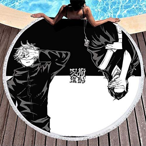 Hothotvery Toallas de playa redondas con borlas Anime Gojo y Geto Jujutsu Kaisen impresas, redondas, sin arena, toallas de baño para niñas, color blanco, 150 cm
