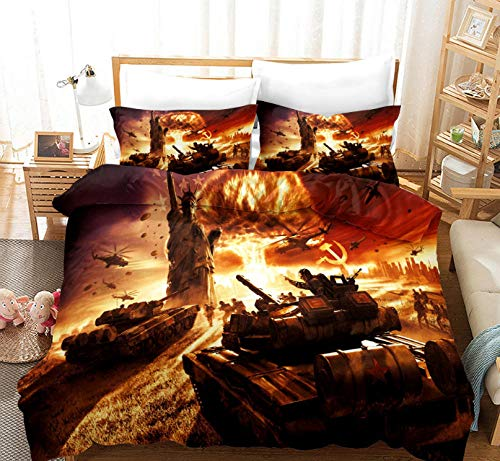 Bedding Set Double Bed 3D War Tank/220X260cm Easy Care Cotton Blend Bedding Bedroom Decor Set | 1 Quilt Cover + 2 Pillow Cases | Zipper Closure | Anti-Allergic Duvet Cover For Kids And Adults