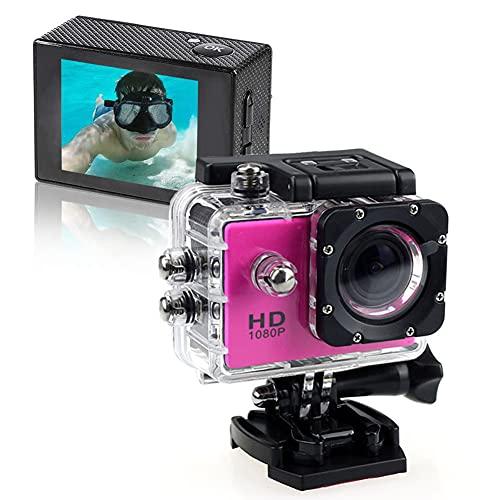 HDGFYTOR Cámara Deportiva HD1080P Impermeable 30M acción cámara submarina Pantalla 2' LCD Gran Angular con Multi Accesorios para Deportes, Buceo, Coche, Moto, Bicicleta etc(Color:Púrpura)