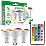 Shanyao-Bombilla LED Foco GU10 Colores RGBW Bombillas spot Cambio de Color Regulable - RGB 16 Colore - Control remoto Incluido - Equivalente de 45 Watt (Pack de 3) [Clase Energética A+]