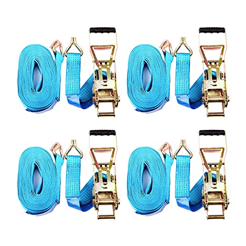4x Spanngurt Zurrgurt Ratschengurt 10 m bis 5000 kg / 5000 daN, langer Hebel Langhebelratsche, zweiteilig 2-tlg Ratschengurt blau, 50 mm Gurtbreite