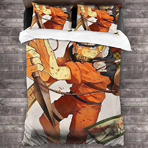 Woworldwo Naruto Uzumaki Naruto Anime Boy And Girl Bedroom Decoration 3-Piece Set, Bed Duvet Cover Large Double Bed, With Zipper Closure Duvet Cover And Two Pillowcases.