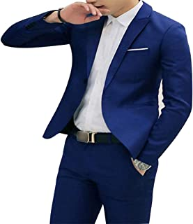 PinShang Men Casual Business Jacket One Button Slim Fit Suit Fashionable Coat Tops royalblue L