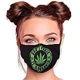 Alsino Alltagsmaske Stoffmaske Motiv Mund- Nasenschutz einstellbare Ohrbügel Waschbar Herren Damen Verschiedene Designs (Hanfblatt mit Spruch)
