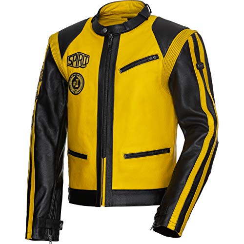 Spirit Motors Motorradjacke mit Protektoren Motorrad Jacke Klassik Lederjacke 4.0 schwarz/gelb L, Herren, Chopper/Cruiser, Ganzjährig