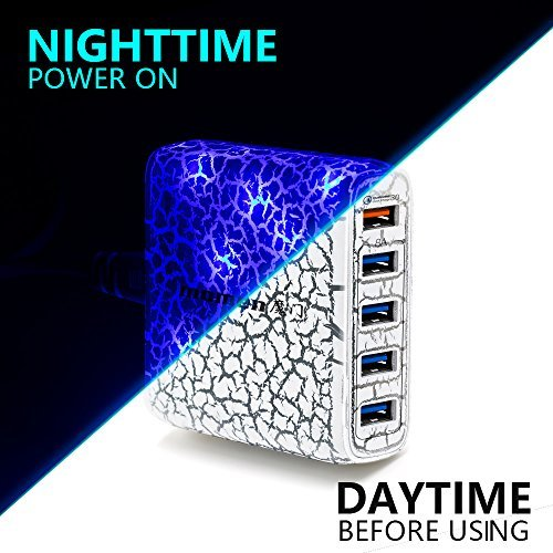 5-Port USB Wall Charger 40W Portable Desktop Quick 3.0 Charging Station for Multiple Devices iPhonex/8/7/6Plus, Samsung Galaxy S9/8/7 Edge Note9/8/7 iPad Air 2/Mini 3, LG, Nexus from Momen